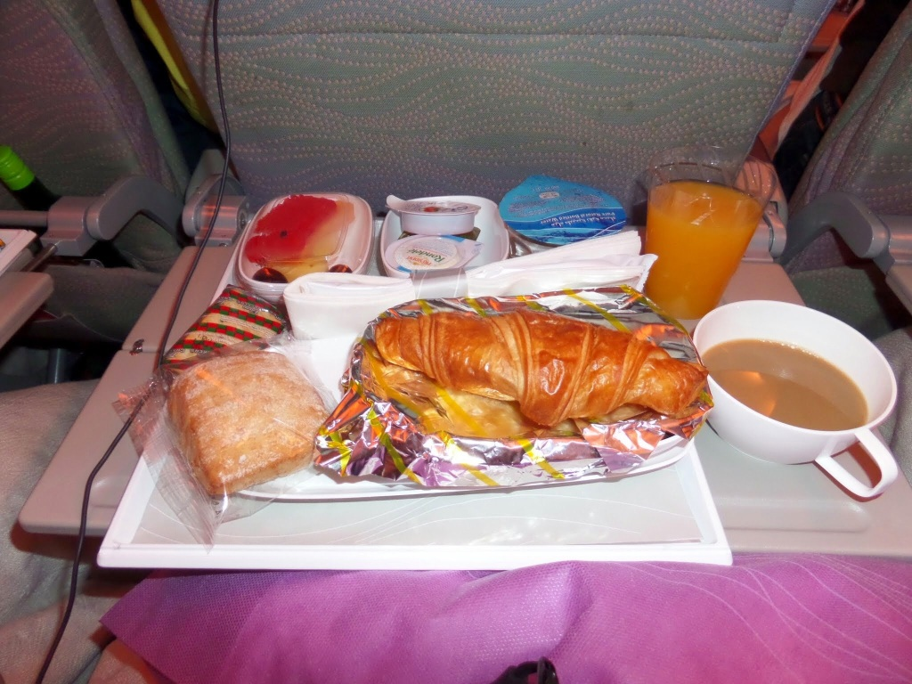Breakfast on Emirates flight