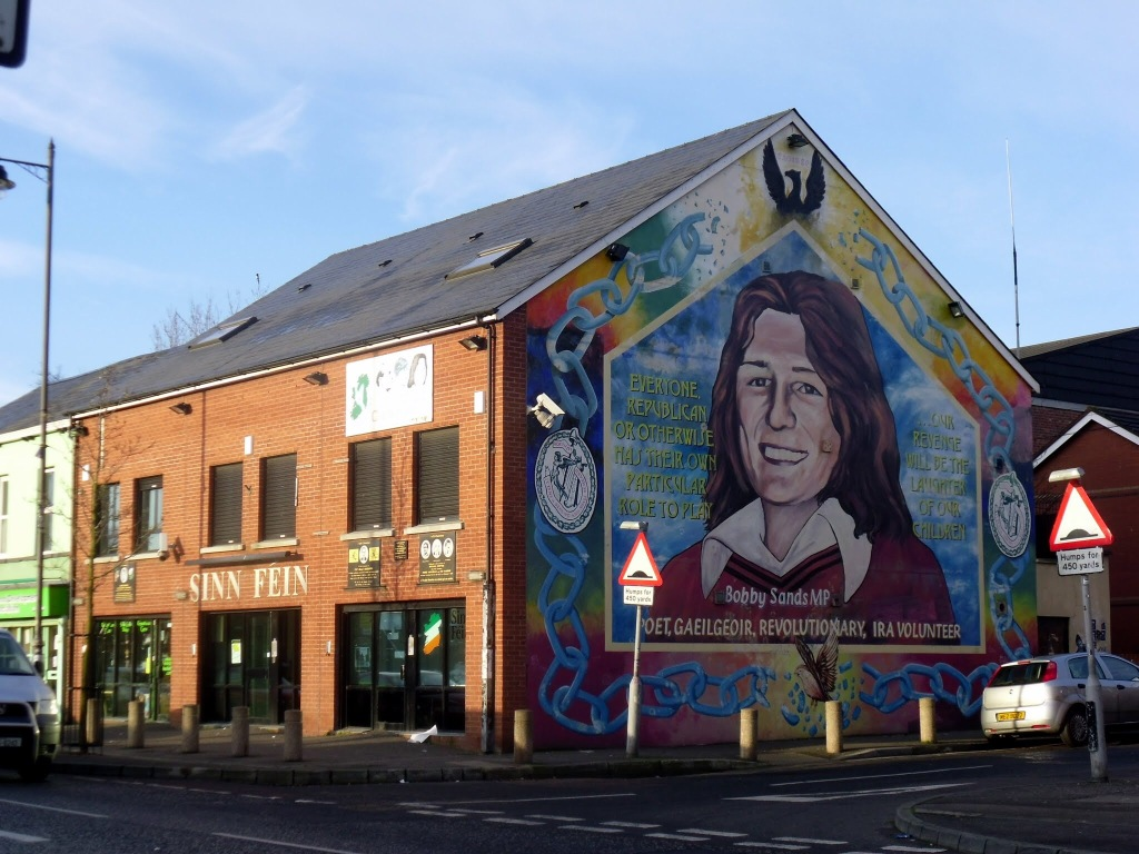 Wall mural of Bobby Sands MP on the side of a Sinn Fein Office