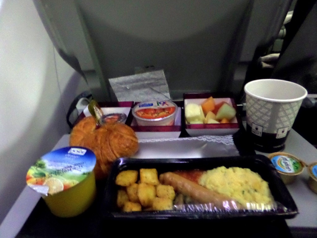 Breakfast on board Qatar Airways