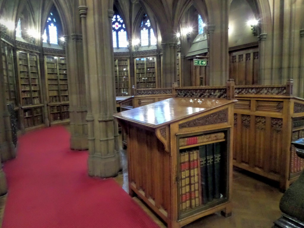 Historic reading room at John Rylands Library, Manchester