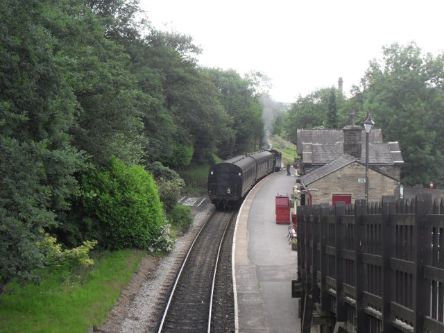 Steam train at Haworth Station