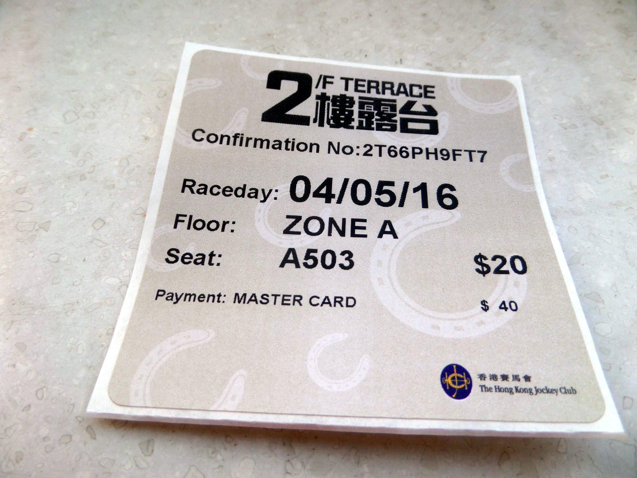 Ticket, Happy Valley Racecourse