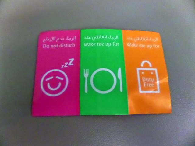Stickers to attach to seat whilst sleeping on Emirates