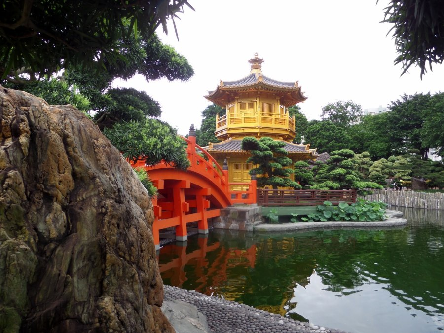 Golden pavilion and bridge, Nan Lian Gardens, Hong Kong