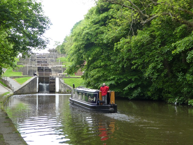 Canal boat at Bingley Five Rise Locks