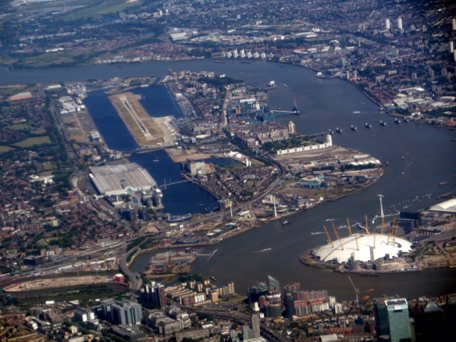 River Thames and O2 Arena from the air