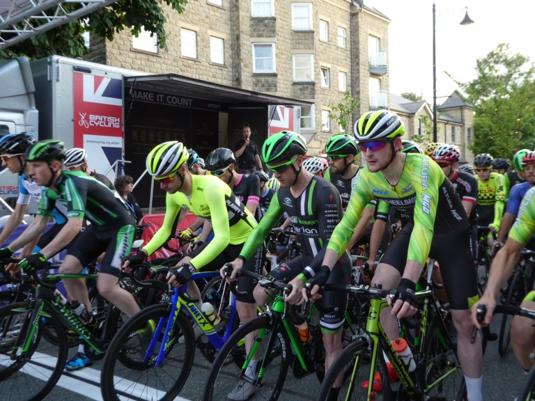 Start line at Ilkley Cycle Races