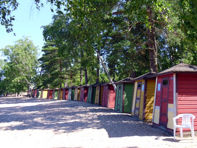 Beach huts on Pihlajasaari Island, Helsinki