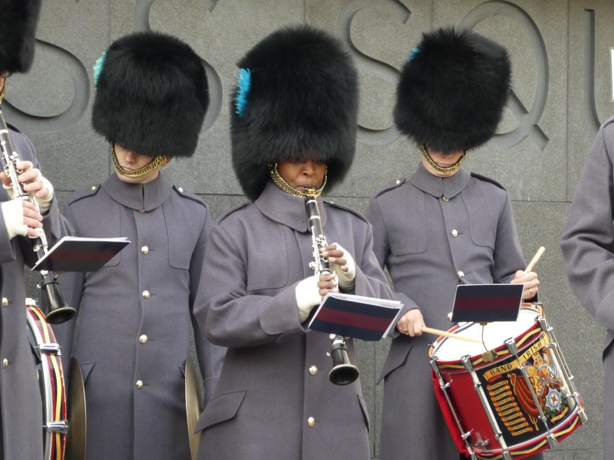 Irish Guards at Kings Cross Station