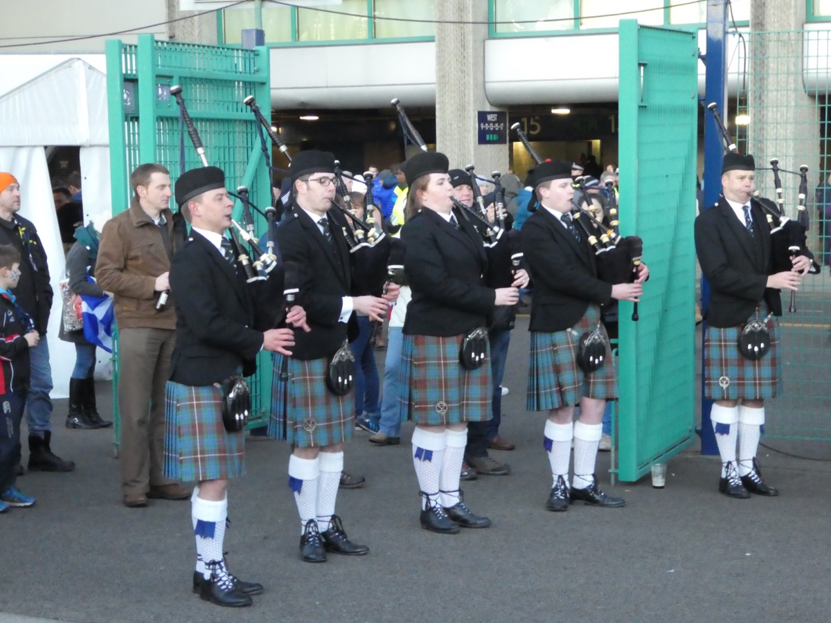 Scottish pipers outside Murrayfield International Rugby Stadium, Edinburgh