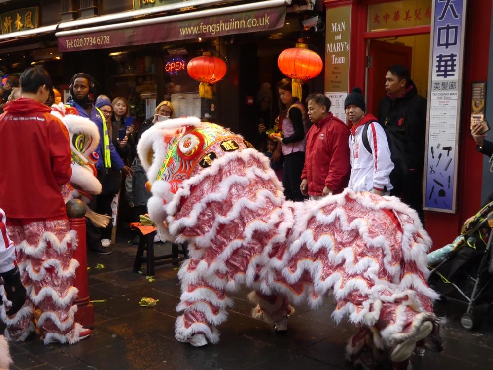 Lion dancers, Chinatown, London