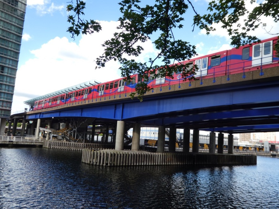 DLR Train at West India Quay, London