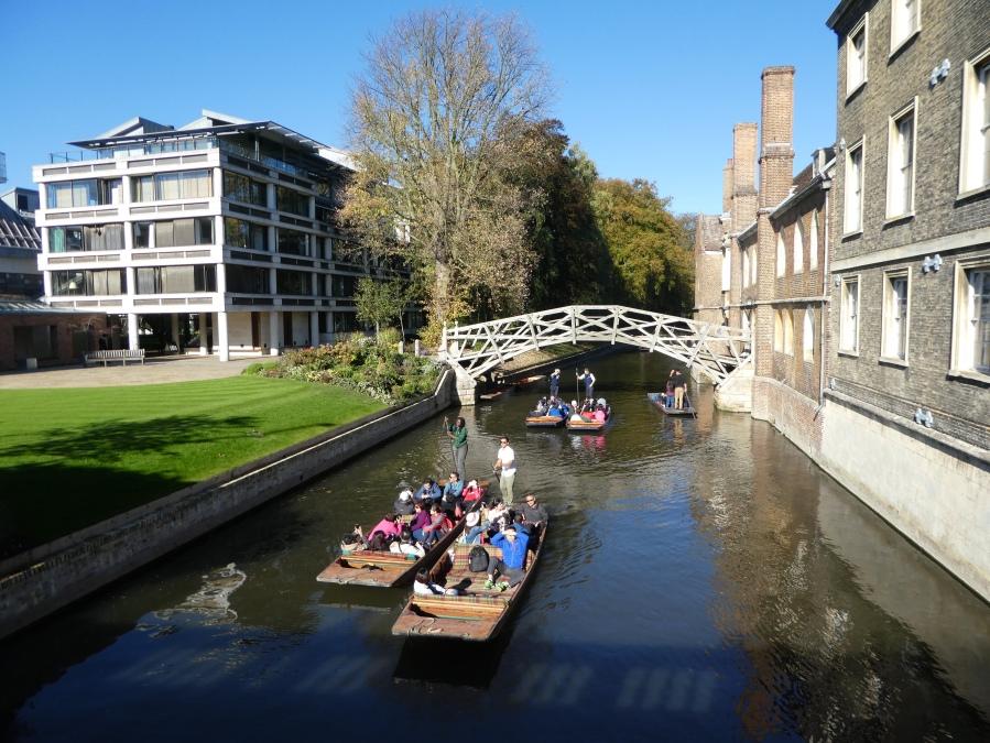 Punting under the Mathematical Bridge, River Cam, Cambridge