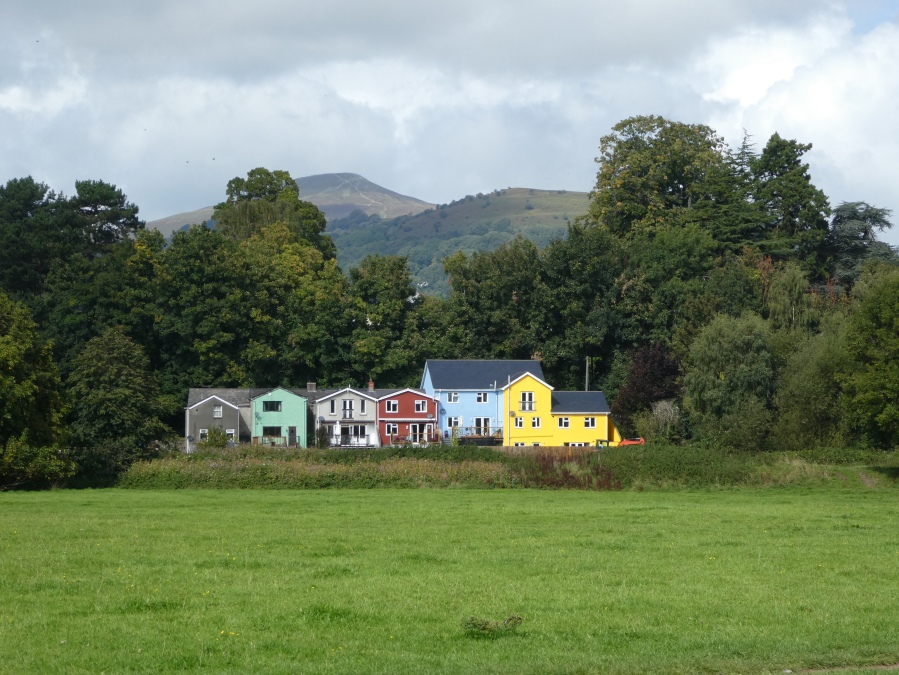 Colourful cottages in Abergavenny