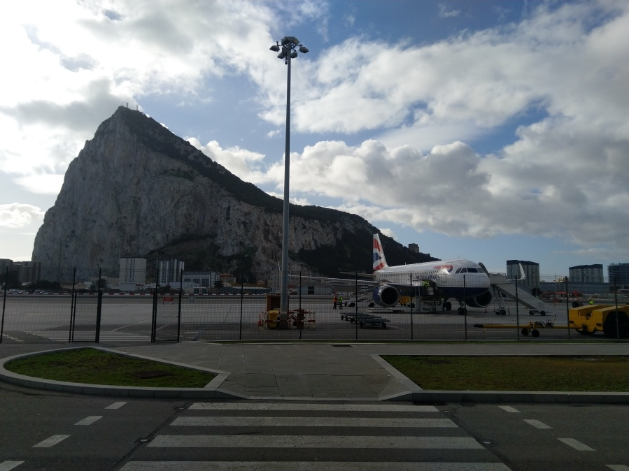 Gibraltar Airport with rock in background